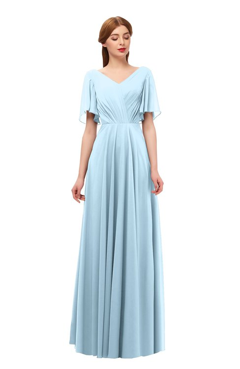 ColsBM Storm Ice Blue Bridesmaid Dresses Lace up V-neck Short Sleeve Floor Length A-line Glamorous