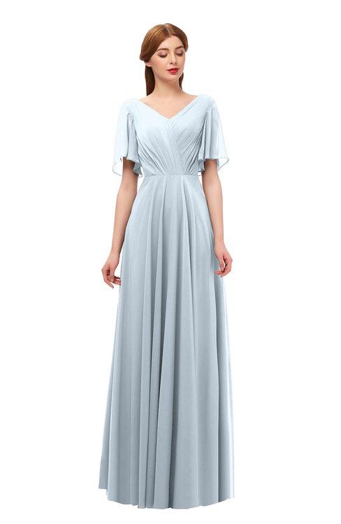 ColsBM Storm Illusion Blue Bridesmaid Dresses Lace up V-neck Short Sleeve Floor Length A-line Glamorous