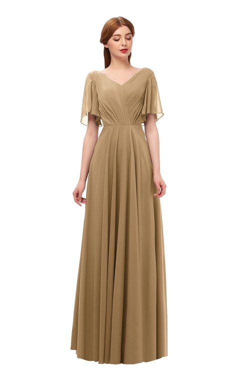 ColsBM Storm Indian Tan Bridesmaid Dresses Lace up V-neck Short Sleeve Floor Length A-line Glamorous