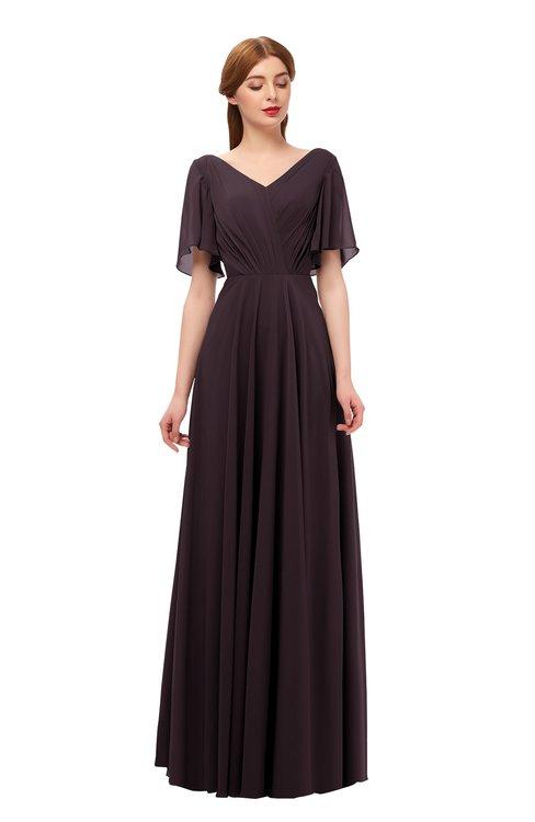 ColsBM Storm Italian Plum Bridesmaid Dresses Lace up V-neck Short Sleeve Floor Length A-line Glamorous