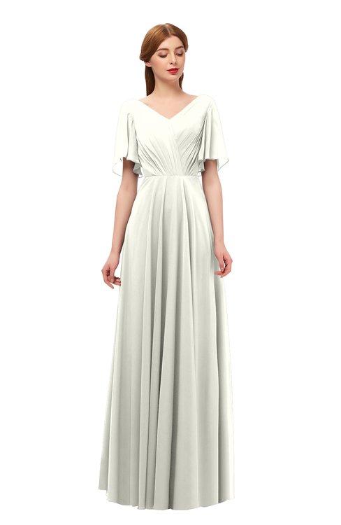ColsBM Storm Ivory Bridesmaid Dresses Lace up V-neck Short Sleeve Floor Length A-line Glamorous