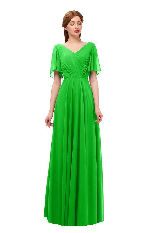 ColsBM Storm Jasmine Green Bridesmaid Dresses Lace up V-neck Short Sleeve Floor Length A-line Glamorous