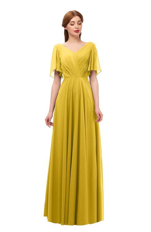 ColsBM Storm Lemon Curry Bridesmaid Dresses Lace up V-neck Short Sleeve Floor Length A-line Glamorous