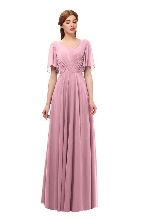 ColsBM Storm Light Coral Bridesmaid Dresses Lace up V-neck Short Sleeve Floor Length A-line Glamorous