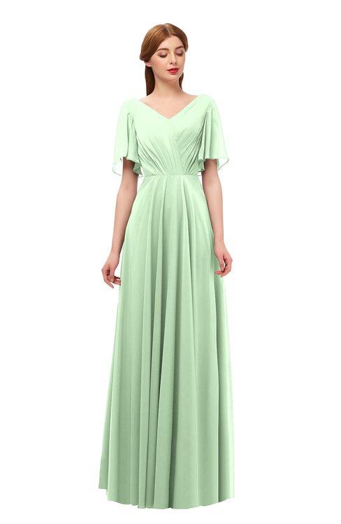 ColsBM Storm Light Green Bridesmaid Dresses Lace up V-neck Short Sleeve Floor Length A-line Glamorous