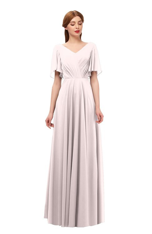 ColsBM Storm Light Pink Bridesmaid Dresses Lace up V-neck Short Sleeve Floor Length A-line Glamorous