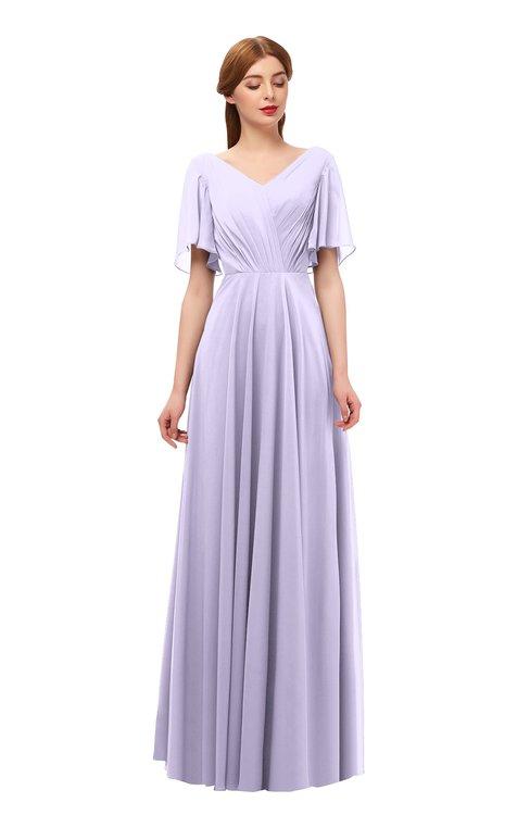 ColsBM Storm Light Purple Bridesmaid Dresses Lace up V-neck Short Sleeve Floor Length A-line Glamorous