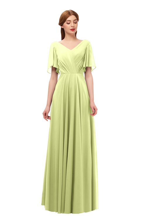 ColsBM Storm Lime Green Bridesmaid Dresses Lace up V-neck Short Sleeve Floor Length A-line Glamorous