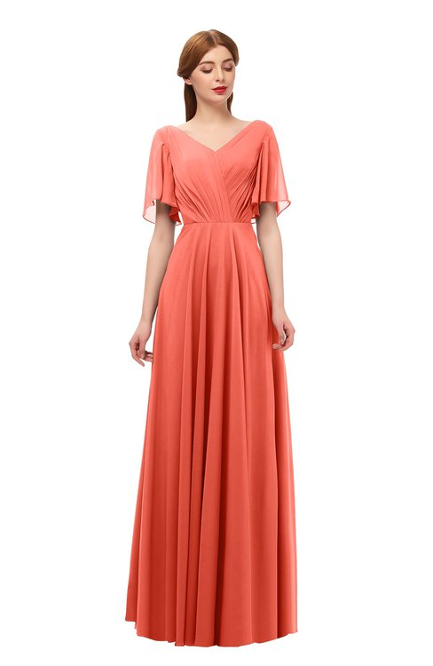 ColsBM Storm Living Coral Bridesmaid Dresses Lace up V-neck Short Sleeve Floor Length A-line Glamorous