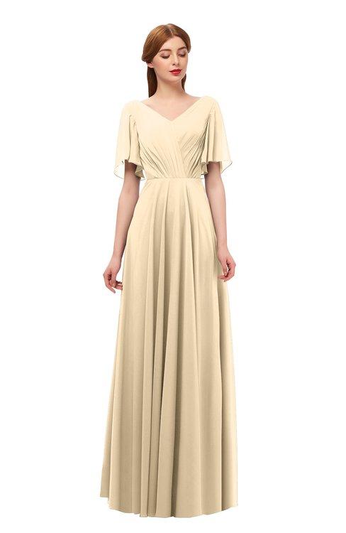 ColsBM Storm Marzipan Bridesmaid Dresses Lace up V-neck Short Sleeve Floor Length A-line Glamorous
