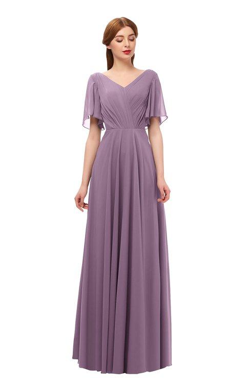 ColsBM Storm Mauve Bridesmaid Dresses Lace up V-neck Short Sleeve Floor Length A-line Glamorous