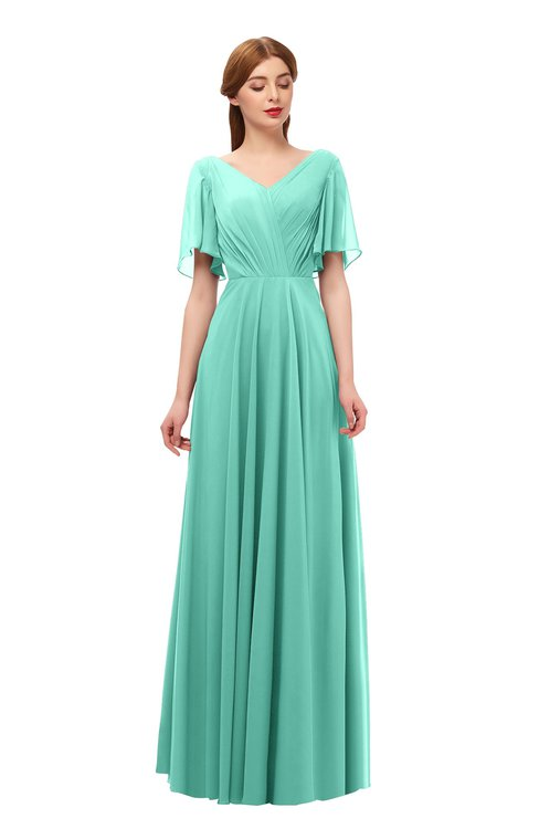 ColsBM Storm Mint Green Bridesmaid Dresses Lace up V-neck Short Sleeve Floor Length A-line Glamorous