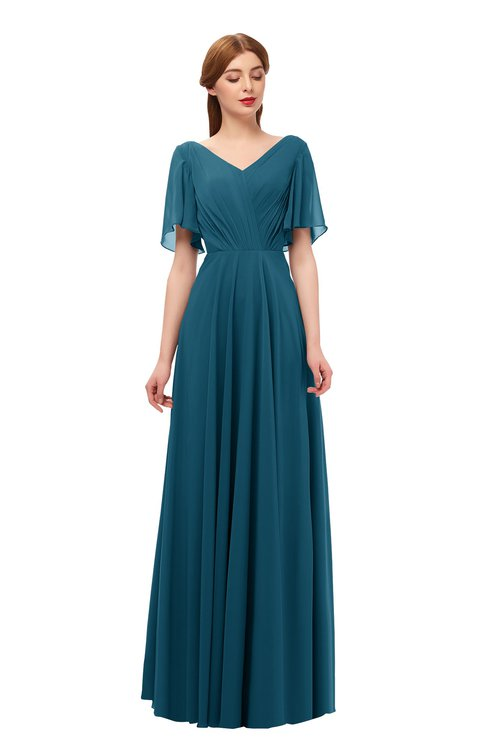 ColsBM Storm Moroccan Blue Bridesmaid Dresses Lace up V-neck Short Sleeve Floor Length A-line Glamorous
