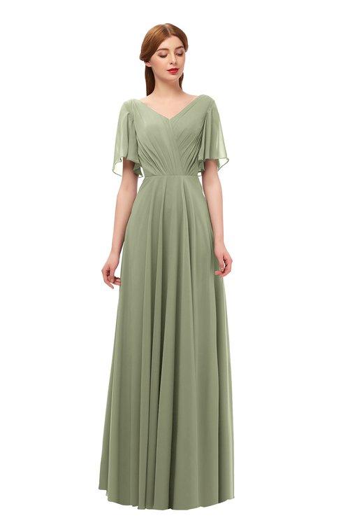 ColsBM Storm Moss Green Bridesmaid Dresses Lace up V-neck Short Sleeve Floor Length A-line Glamorous