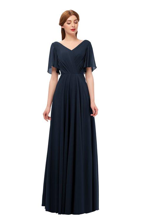 ColsBM Storm Navy Blue Bridesmaid Dresses Lace up V-neck Short Sleeve Floor Length A-line Glamorous