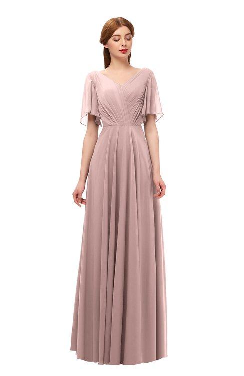 ColsBM Storm Nectar Pink Bridesmaid Dresses Lace up V-neck Short Sleeve Floor Length A-line Glamorous
