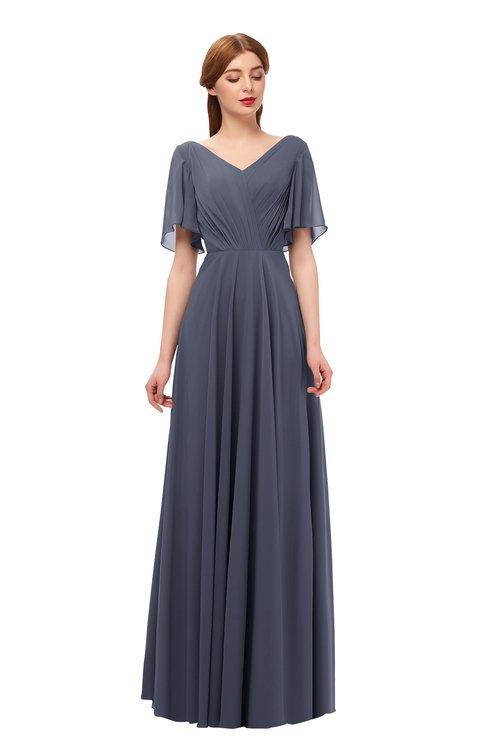 ColsBM Storm Nightshadow Blue Bridesmaid Dresses Lace up V-neck Short Sleeve Floor Length A-line Glamorous
