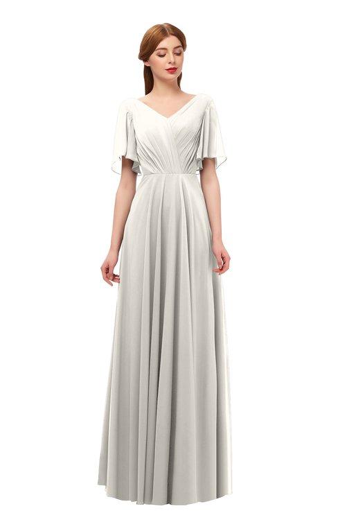 ColsBM Storm Off White Bridesmaid Dresses Lace up V-neck Short Sleeve Floor Length A-line Glamorous