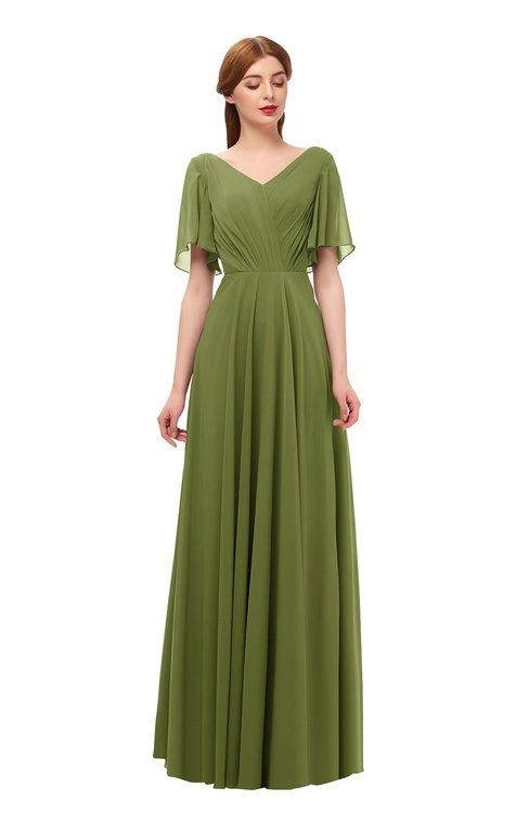 ColsBM Storm Olive Green Bridesmaid Dresses Lace up V-neck Short Sleeve Floor Length A-line Glamorous
