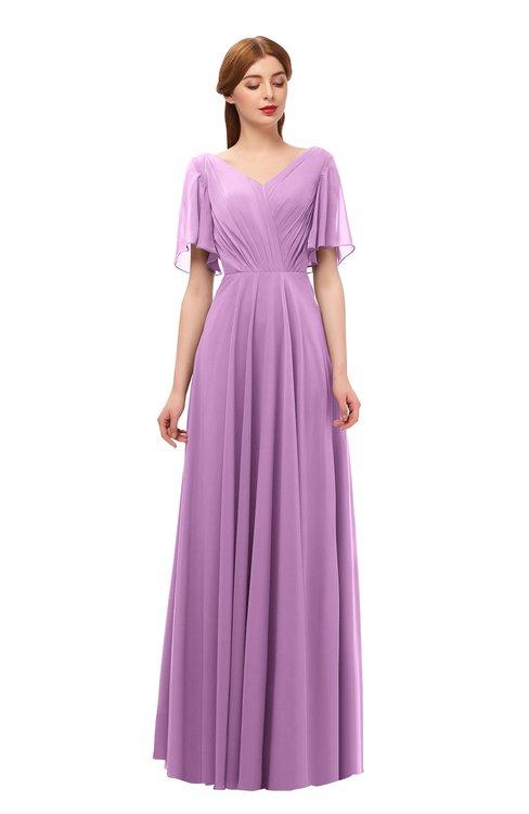 ColsBM Storm Orchid Bridesmaid Dresses Lace up V-neck Short Sleeve Floor Length A-line Glamorous