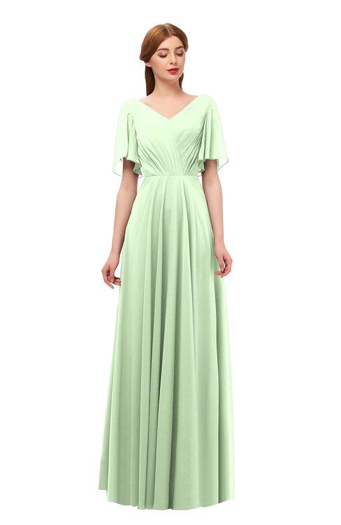 ColsBM Storm Pale Green Bridesmaid Dresses Lace up V-neck Short Sleeve Floor Length A-line Glamorous