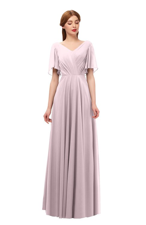 ColsBM Storm Pale Lilac Bridesmaid Dresses Lace up V-neck Short Sleeve Floor Length A-line Glamorous