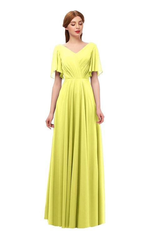 ColsBM Storm Pale Yellow Bridesmaid Dresses Lace up V-neck Short Sleeve Floor Length A-line Glamorous