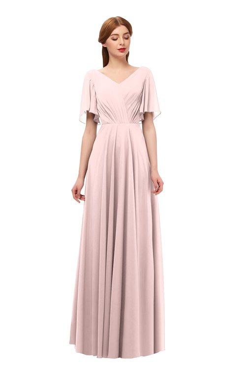 ColsBM Storm Pastel Pink Bridesmaid Dresses Lace up V-neck Short Sleeve Floor Length A-line Glamorous