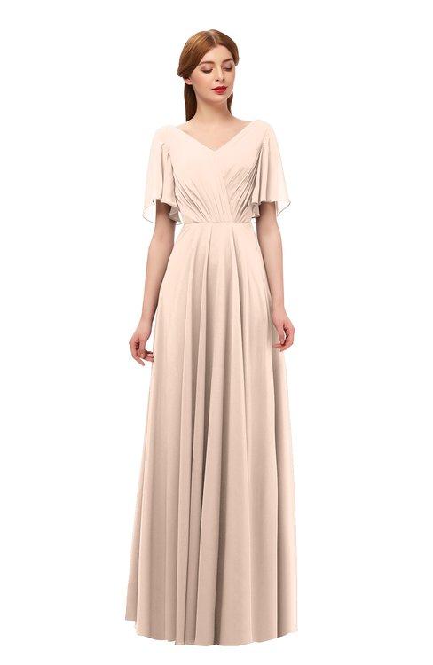 ColsBM Storm Peach Puree Bridesmaid Dresses Lace up V-neck Short Sleeve Floor Length A-line Glamorous