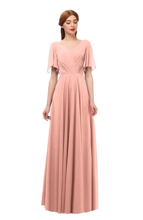 ColsBM Storm Peach Bridesmaid Dresses Lace up V-neck Short Sleeve Floor Length A-line Glamorous