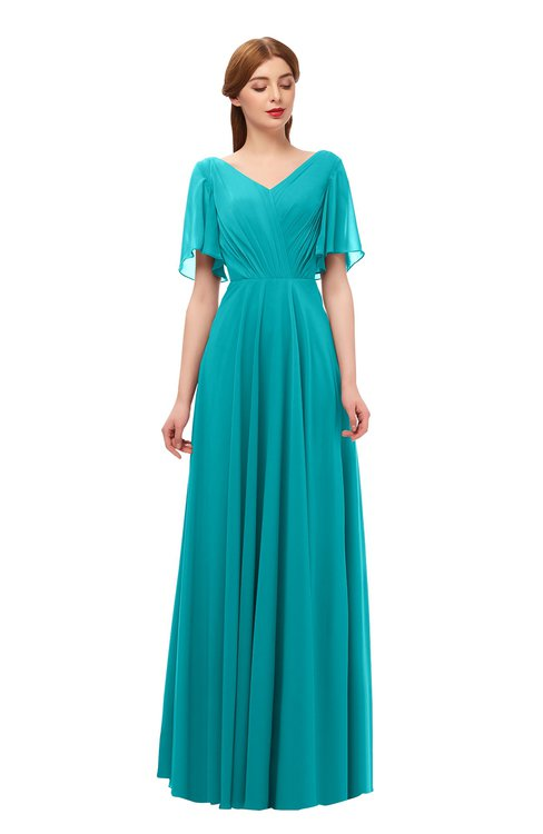 ColsBM Storm Peacock Blue Bridesmaid Dresses Lace up V-neck Short Sleeve Floor Length A-line Glamorous