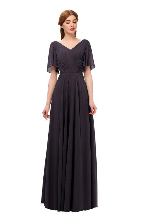 ColsBM Storm Perfect Plum Bridesmaid Dresses Lace up V-neck Short Sleeve Floor Length A-line Glamorous