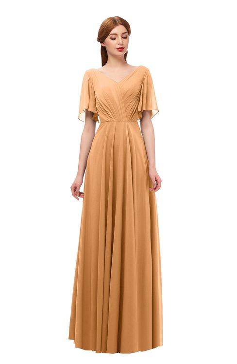 ColsBM Storm Pheasant Bridesmaid Dresses Lace up V-neck Short Sleeve Floor Length A-line Glamorous