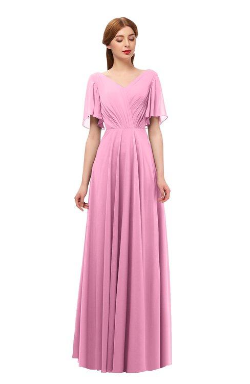 ColsBM Storm Pink Bridesmaid Dresses Lace up V-neck Short Sleeve Floor Length A-line Glamorous