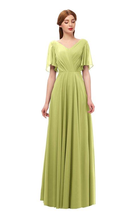 ColsBM Storm Pistachio Bridesmaid Dresses Lace up V-neck Short Sleeve Floor Length A-line Glamorous