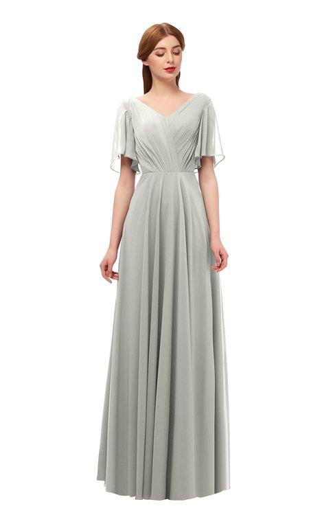 ColsBM Storm Platinum Bridesmaid Dresses Lace up V-neck Short Sleeve Floor Length A-line Glamorous