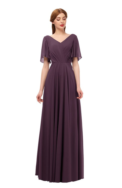 ColsBM Storm Plum Bridesmaid Dresses Lace up V-neck Short Sleeve Floor Length A-line Glamorous