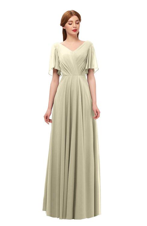 ColsBM Storm Putty Bridesmaid Dresses Lace up V-neck Short Sleeve Floor Length A-line Glamorous