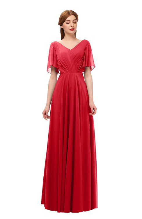 ColsBM Storm Red Bridesmaid Dresses Lace up V-neck Short Sleeve Floor Length A-line Glamorous