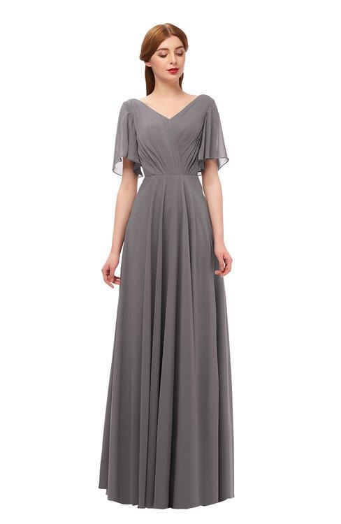 ColsBM Storm Ridge Grey Bridesmaid Dresses Lace up V-neck Short Sleeve Floor Length A-line Glamorous