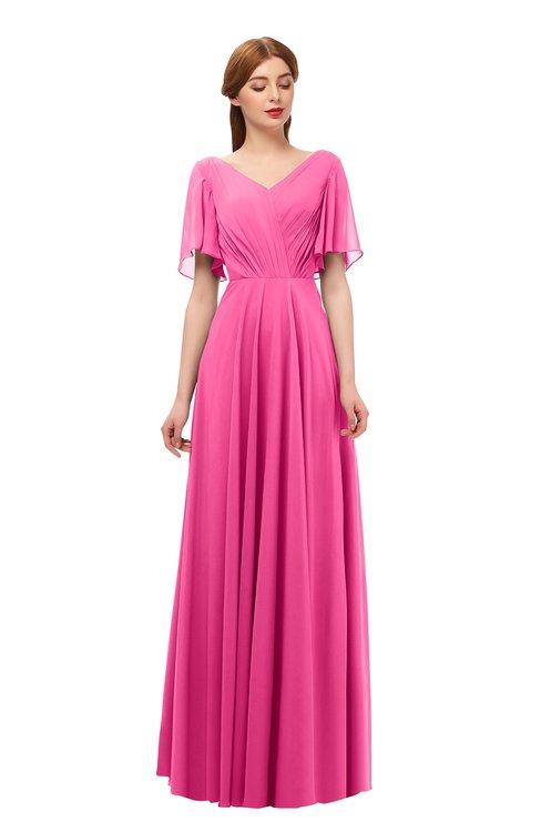 ColsBM Storm Rose Pink Bridesmaid Dresses Lace up V-neck Short Sleeve Floor Length A-line Glamorous