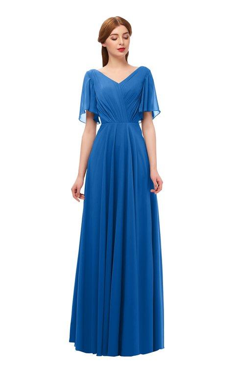 ColsBM Storm Royal Blue Bridesmaid Dresses Lace up V-neck Short Sleeve Floor Length A-line Glamorous