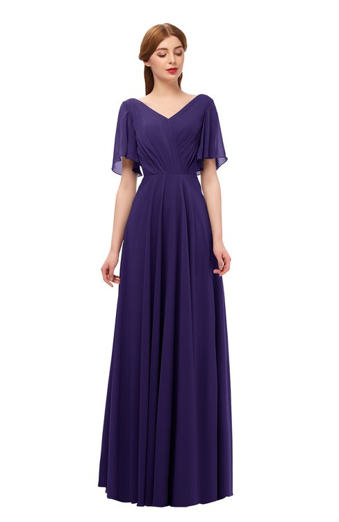ColsBM Storm Royal Purple Bridesmaid Dresses Lace up V-neck Short Sleeve Floor Length A-line Glamorous