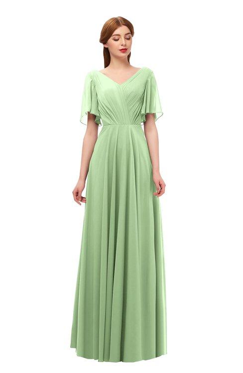 ColsBM Storm Sage Green Bridesmaid Dresses Lace up V-neck Short Sleeve Floor Length A-line Glamorous