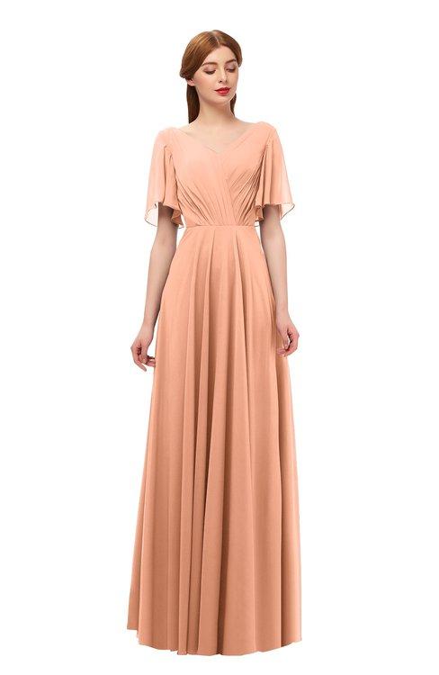 ColsBM Storm Salmon Bridesmaid Dresses Lace up V-neck Short Sleeve Floor Length A-line Glamorous