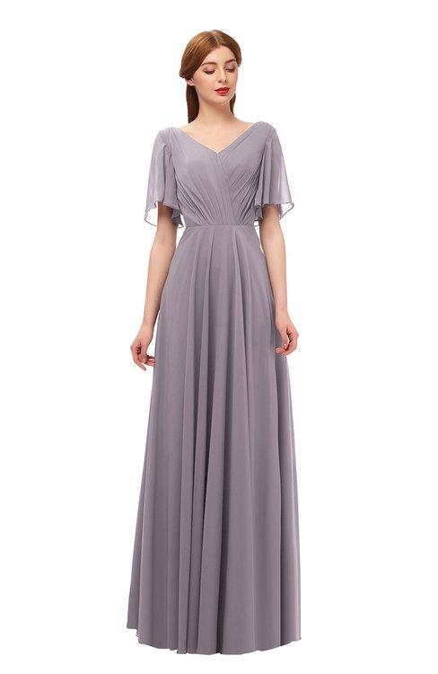 ColsBM Storm Sea Fog Bridesmaid Dresses Lace up V-neck Short Sleeve Floor Length A-line Glamorous