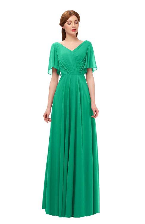 ColsBM Storm Sea Green Bridesmaid Dresses Lace up V-neck Short Sleeve Floor Length A-line Glamorous