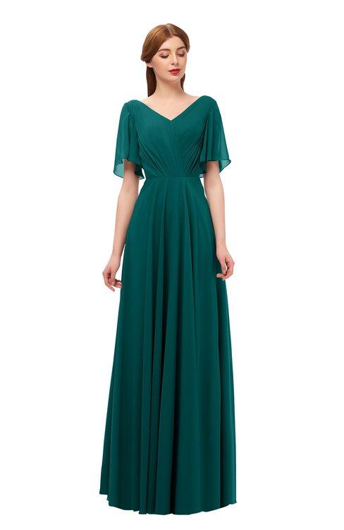 ColsBM Storm Shaded Spruce Bridesmaid Dresses Lace up V-neck Short Sleeve Floor Length A-line Glamorous