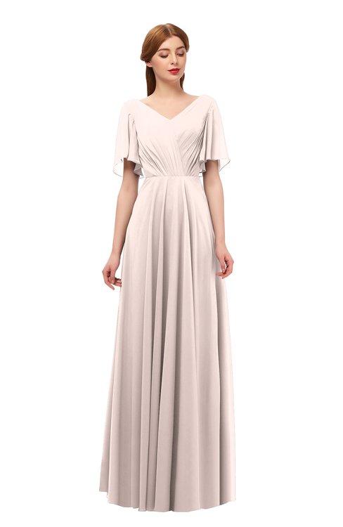 ColsBM Storm Silver Peony Bridesmaid Dresses Lace up V-neck Short Sleeve Floor Length A-line Glamorous