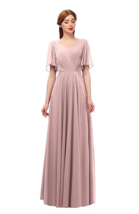 ColsBM Storm Silver Pink Bridesmaid Dresses Lace up V-neck Short Sleeve Floor Length A-line Glamorous